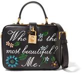 Dolce & Gabbana Dolce Embellished Printed Leather Shoulder Bag - Black