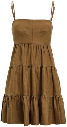 Shona Joy Lucille Tiered Linen Mini Dress