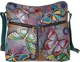 Anuschka Anna Handpainted Leather Large Hobo,Butterfly Paradise