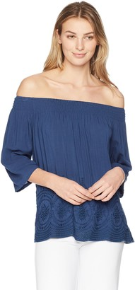 Tribal Women's Off The Shoulder Embroidered Top
