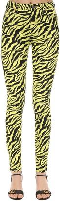 Gucci High Rise Zebra Print Cotton Denim Jeans
