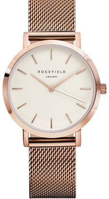 ROSEFIELD TWR-T50 33MM Tribeca White Dial with Rosegold Mesh