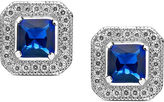 Crislu Earrings, Platinum Over Sterling Silver Sapphire Cubic Zirconia Square Stud Earrings (2-1/6 ct. t.w.)