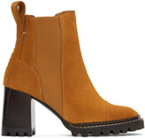 Thumbnail for your product : See by Chloe Tan Suede Mallory Heeled Boots