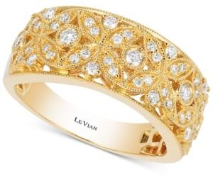 LeVian Le Vian Vanilla Deco Estate Gold Diamond (3/8 ct. t.w.) Band in 14k Gold