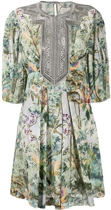 Alberta Ferretti Lace-Panel Foliage Print Dress
