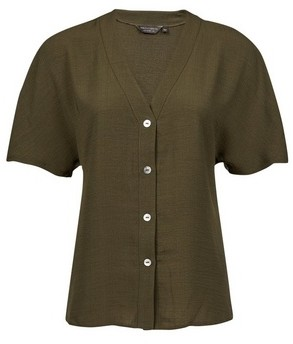 Dorothy Perkins Womens Khaki Button Shirt, Khaki
