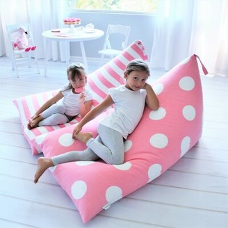 Heart to Heart Standard Outdoor Friendly Bean Bag Cover Upholstery Color: Pink Stripe