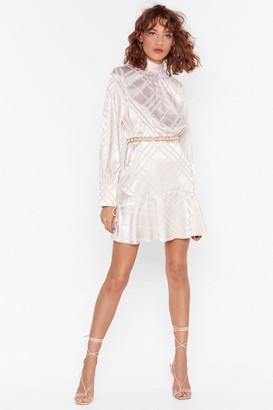 Nasty Gal Womens Jacquard Mini Tea Dress with High Neck - Cream