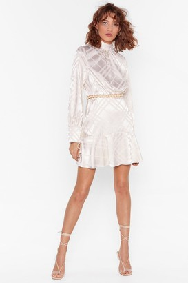 Nasty Gal Womens Only Line Will Tell Satin Jacquard Dress - White - 4