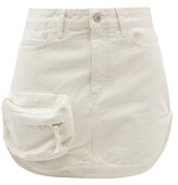 Thumbnail for your product : ATTICO Zip-pocket Cotton-canvas Mini Skirt - Ivory