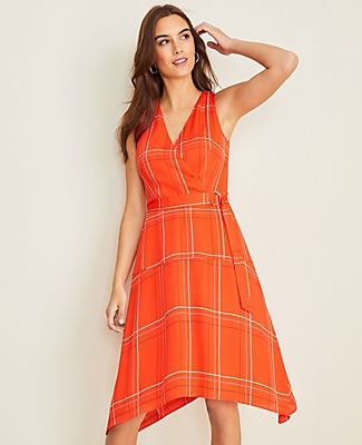 Ann Taylor Petite Plaid Belted Flare Dress