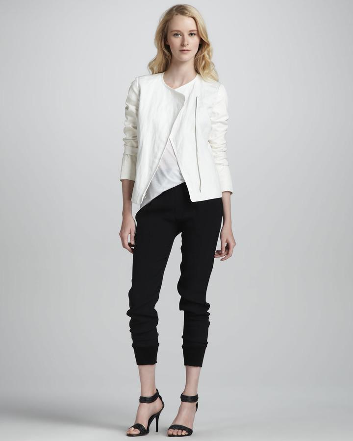 Vince Leather-Sleeve Asymmetric Jacket