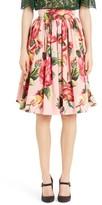 Dolce & Gabbana Women's Rose Print Poplin Skirt