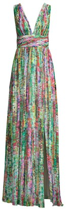 Aidan Mattox Printed Chiffon Maxi Dress