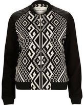 River Island Womens Black geometric print bomber jacket