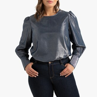 La Redoute Collections Plus Metallic Crew Neck Blouse with Long Puff Sleeves