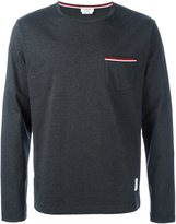 Thom Browne Long Sleeve T-Shirt With Chest Pocket In Charcoal Jersey