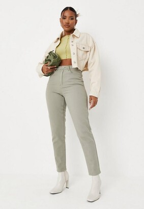 Missguided Khaki Co Ord High Rise Denim Mom Jeans