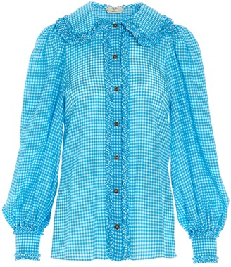 Fendi Ruffles Gingham Blouse