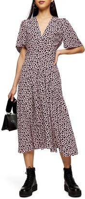 Topshop Animal Print Midi Dress