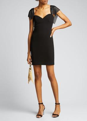 CDGNY Chainmail-Sleeve Jersey Mini Dress