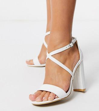 Glamorous Wide Fit cross strap heeled sandal in white mock croc