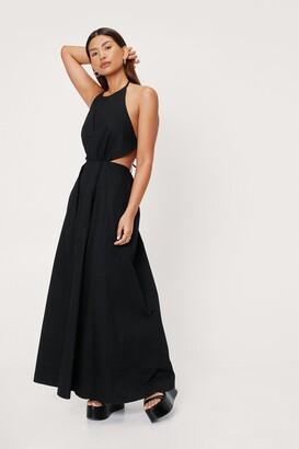 Nasty Gal Womens Poplin Halter Neck Cut Out Side Maxi Dress - Black - 8