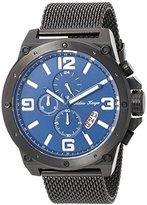 Adee Kaye Men's Quartz Stainless Steel Dress Watch, Color:Black (Model: AK8896-MIPB-BU / IPB MESH)