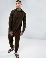 Asos Jersey Onesie In Khaki With Logo