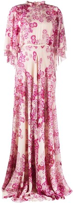 Giambattista Valli Silk Floral Print Long Gown