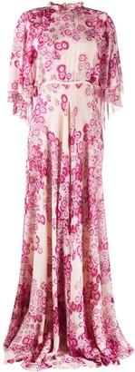 Giambattista Valli Silk Floral Print Long Gown