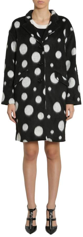 Moschino Long Polka Dots Velour Coat