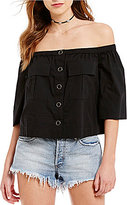 Free People Head Over Heels Off-the-Shoulder 3/4 Sleeve Solid Blouse
