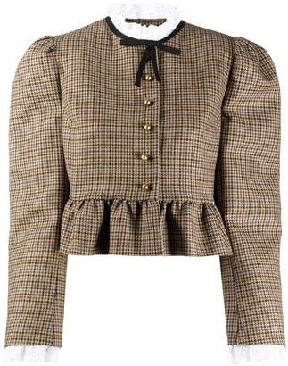 Miu Miu Ruffled Wool Tweed Jacket