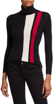 Neiman Marcus Striped Turtleneck Ribbed Pullover Sweater