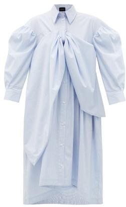Simone Rocha Bow-front Striped Cotton-poplin Shirt Dress - Blue