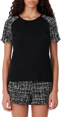 Maje Tweed Accent Short Sleeve Top