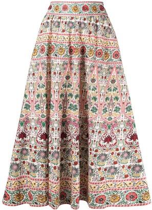 Alice + Olivia High-Rise Floral-Print A-Line Midi Skirt