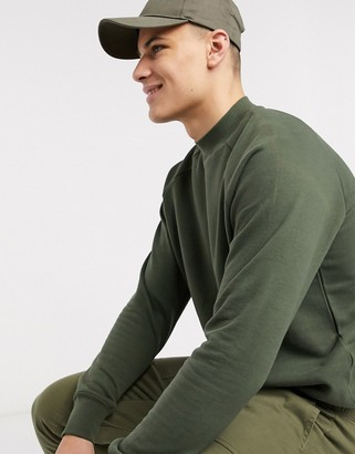 Topman jersey ragaln sweat in khaki
