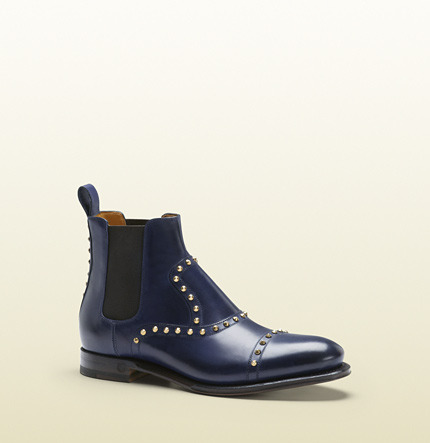 Gucci Linley Blue Leather Studded Bootie