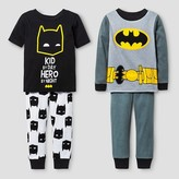 Batman Baby Boys' Snug Fit 4-Piece Cotton Pajama Set - Black