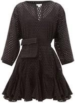 Rhode Resort Ryan Waist-pouch Eyelet-lace Cotton Mini Dress - Womens - Black
