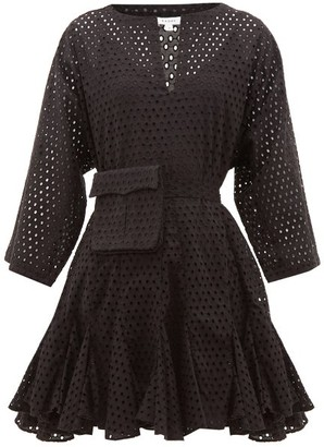 Rhode Resort Ryan Waist-pouch Eyelet-lace Cotton Mini Dress - Black