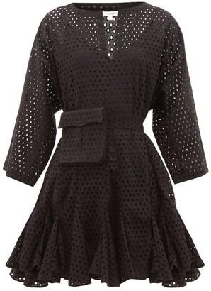 Rhode Resort Ryan Waist-pouch Eyelet-lace Cotton Mini Dress - Black