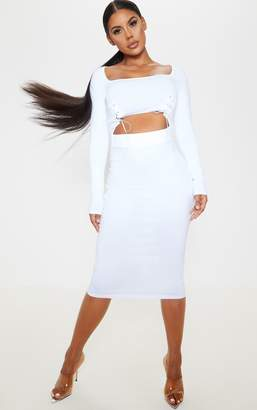 PrettyLittleThing White Long Sleeve Lace Up Detail Cut Out Midi Dress