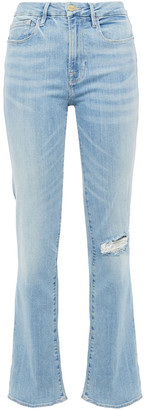 Frame Distressed High-rise Bootcut Jeans