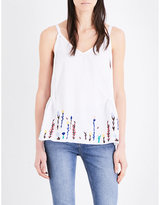 MiH Jeans Floral-embroidered cotton and linen-blend camisole
