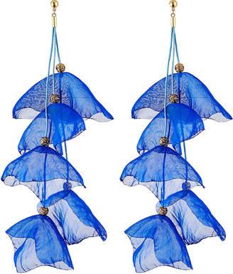 Stella & Ruby Floral Fabric Drop Earrings, Blue