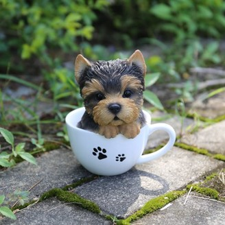 Hi-Line Gift Teacup Yorkshire Terrier Puppy Statue